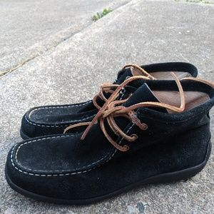Lands'End Black Leather Lace Up Chukka Boot 9.5